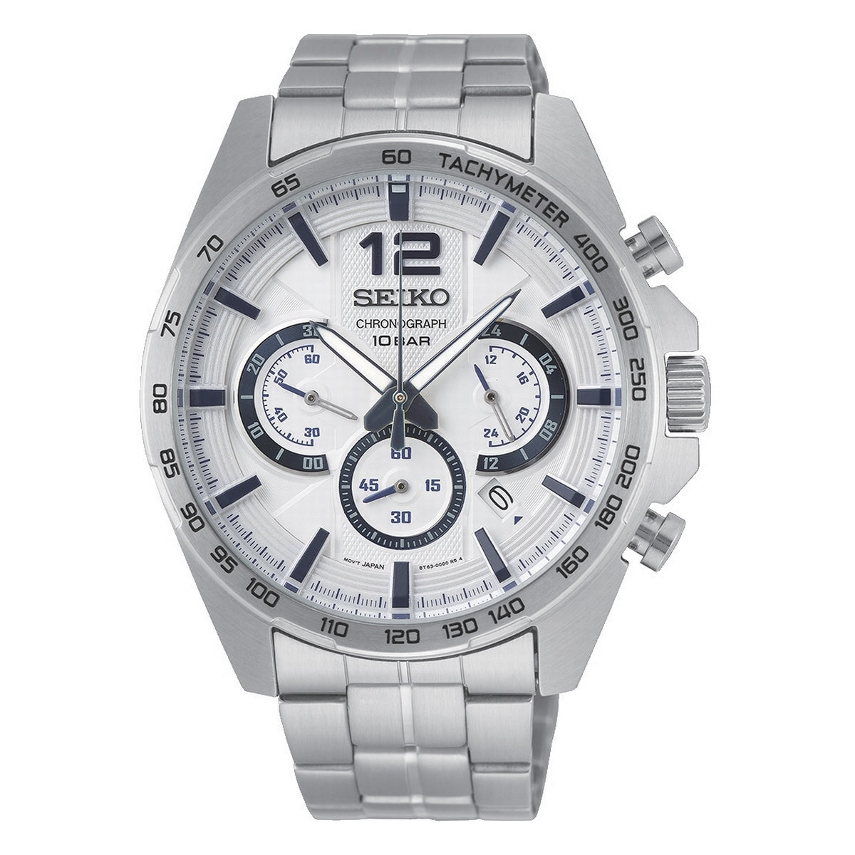 seiko quartz chronograph gents stainless steel white dial bracelet watch