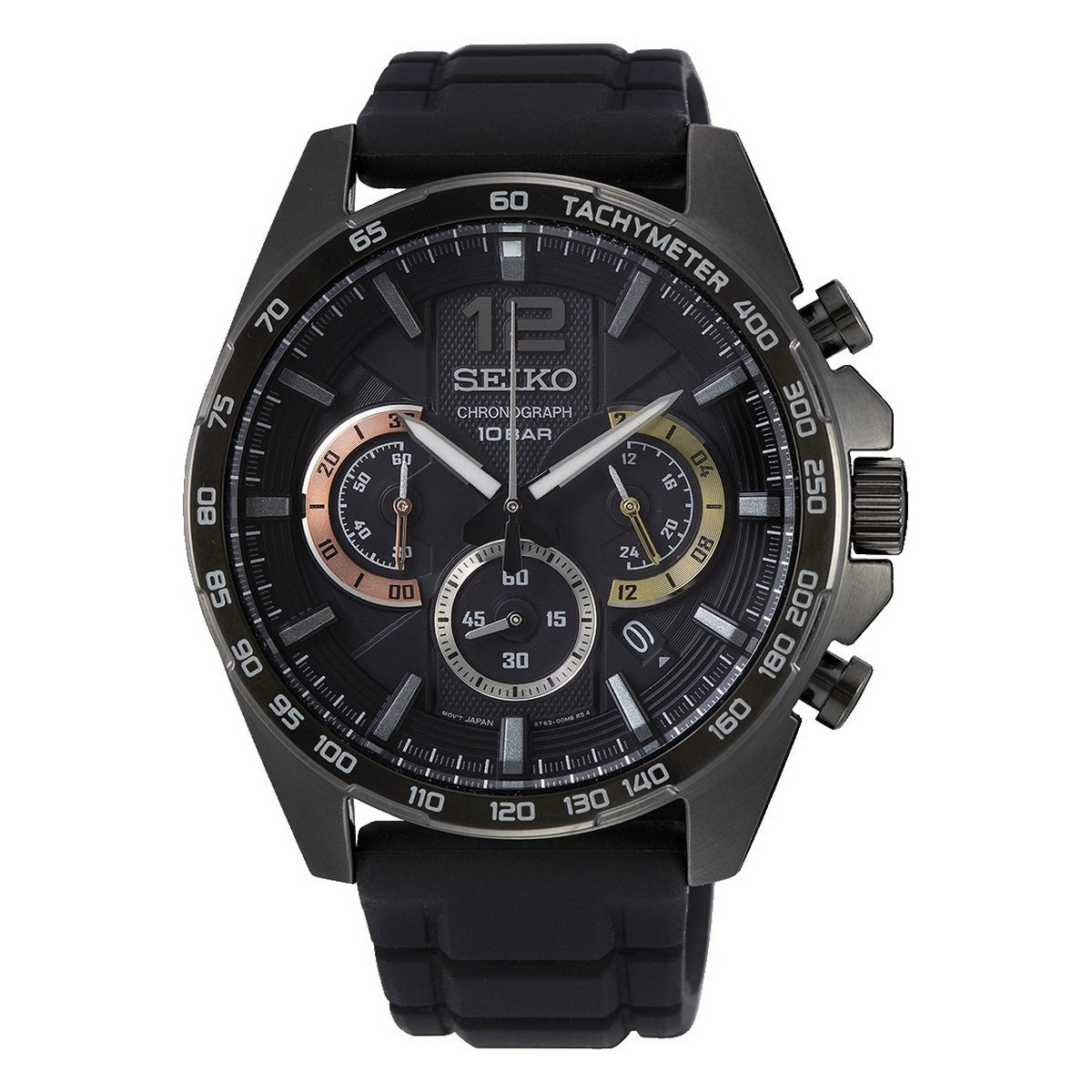 seiko quartz chronograph gents ion black dial strap watch