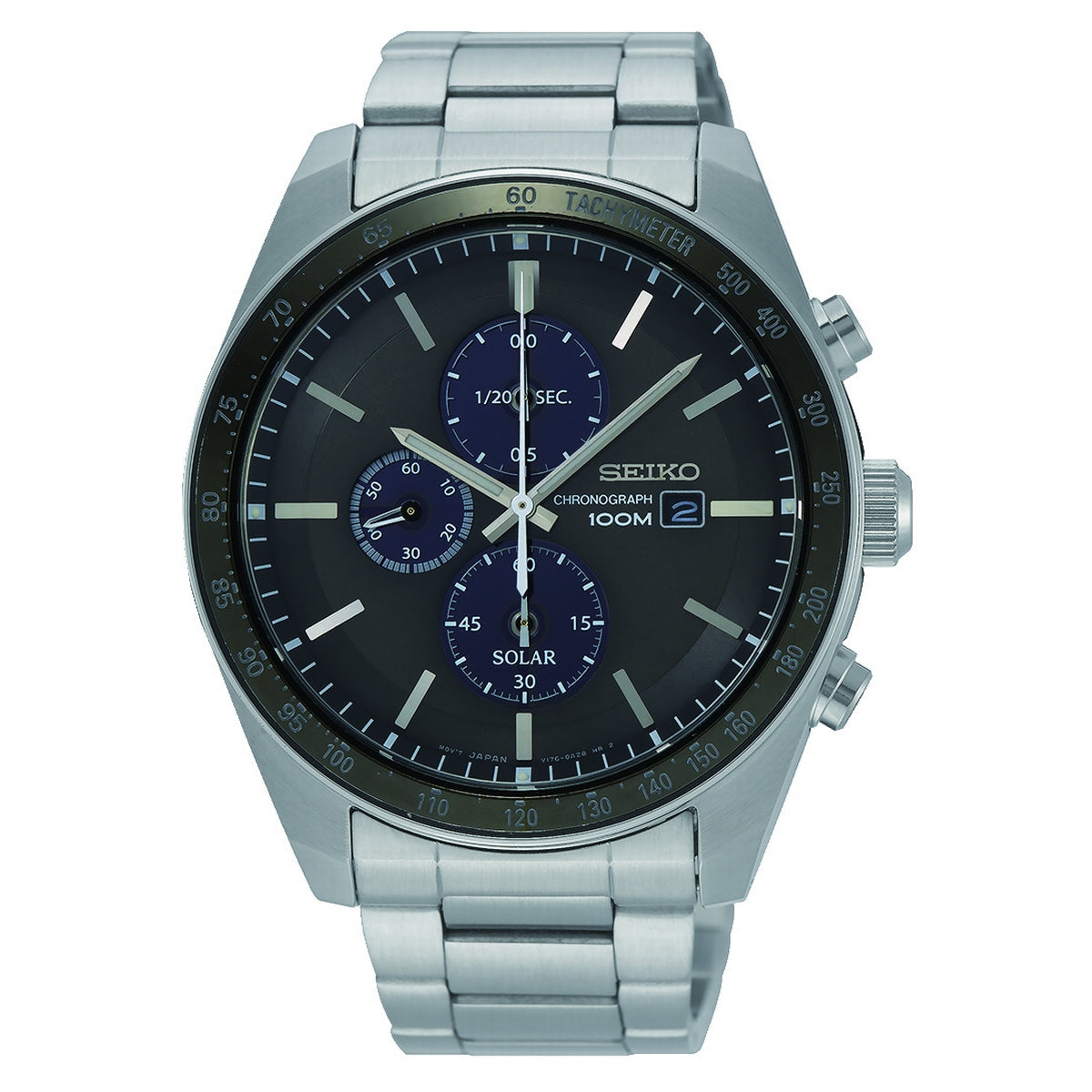 seiko solar chronograph gents stainless black dial bracelet watch