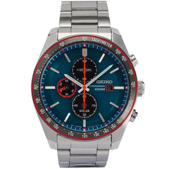 seiko solar chronograph gents stainless blue dial bracelet watch