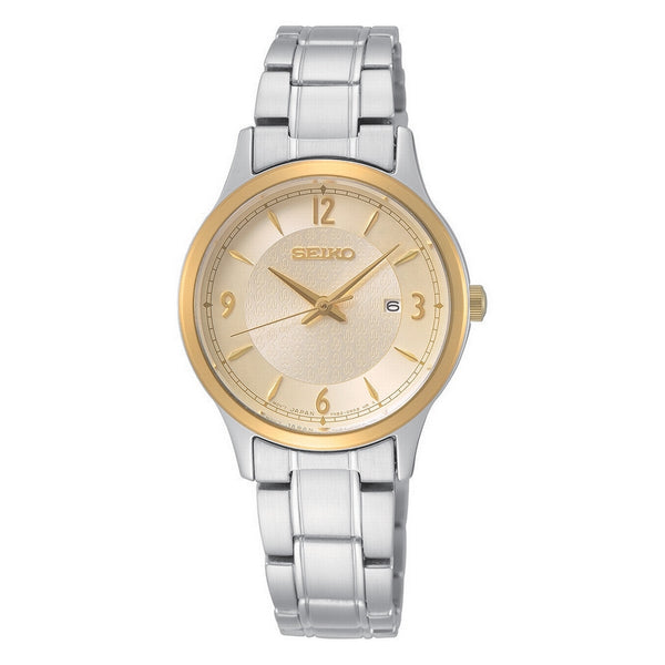 seiko quartz ladies 50th anniversry special edition two tone steel champagne dial bracelet watch