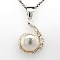 silver pearl mill grain swirl drop earring and pendant set 85mm on 45cm chain  a