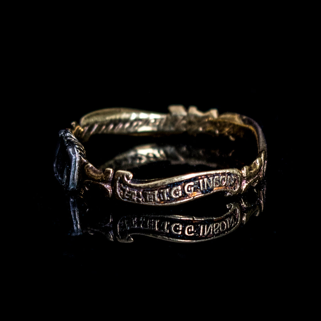 Antique gold Memento Mori ring with connections to The Salem Witch Trials Jewellery Decorus Macabre - Decorus Macabre