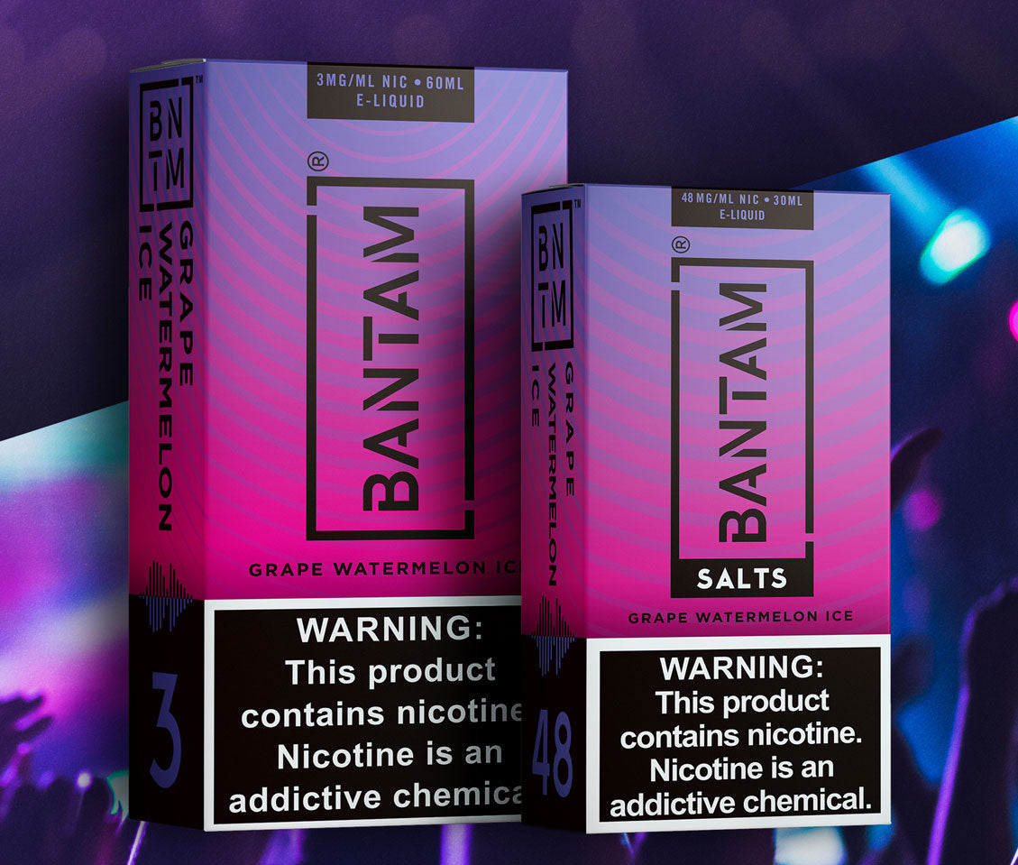 Bantam vape grape watermelon ice vape flavor e juice and nicotine salts.