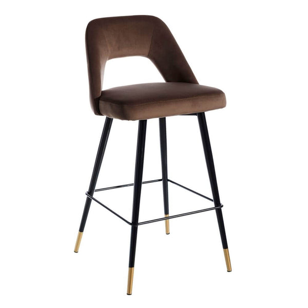 Scaun de bar (H-105cm) din catifea maro Barstool Velvet Coffee | PRIMERA COLLECTION