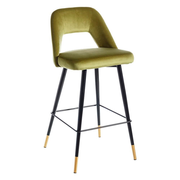 Scaun de bar (H-105cm) din catifea verde Barstool Velvet Green | PRIMERA COLLECTION