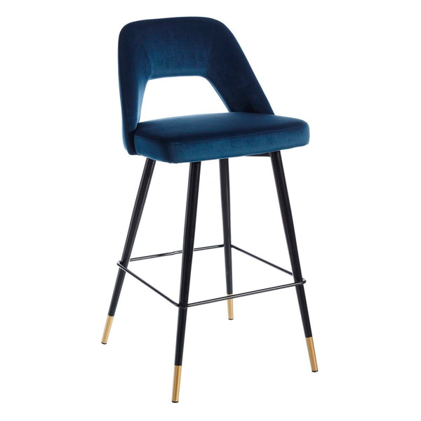 Scaun de bar (H-105cm) din catifea albastru Barstool Velvet Blue | PRIMERA COLLECTION