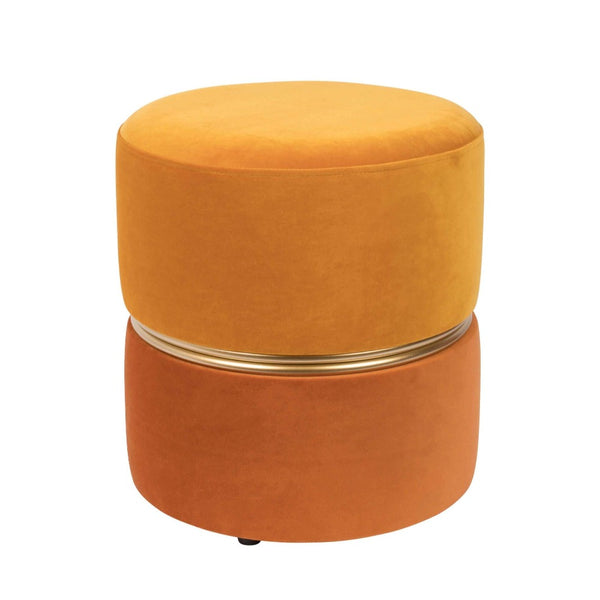 Puf catifea orange Ø35cm Stool Bubbly Sun | WHITE LABEL LIVING