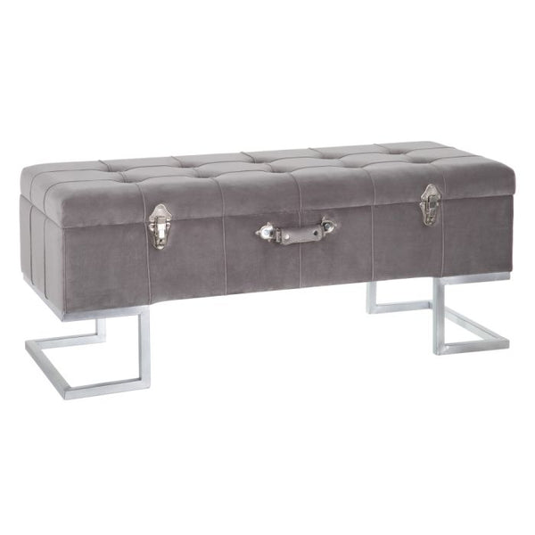 Bancheta textil gri Bench Chest Grey