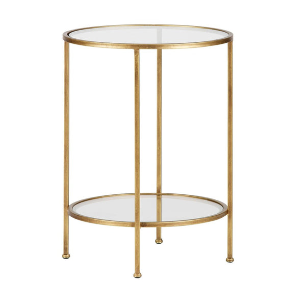 Masuta de cafea din alama antichizata si sticla Goddess Side Table