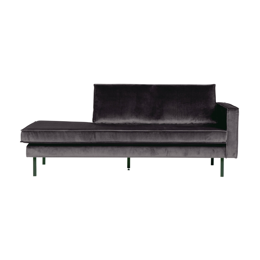 Sofa sezlong/Daybed din catifea gri inchis Rodeo Right Velvet Antracit