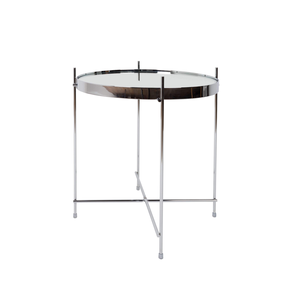 Masuta de cafea din sticla si metal Cupid Silver Side Table