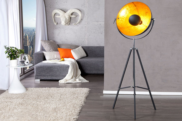 Lampa de podea neagra H 160cm Industrial Big Studio Black|Gold