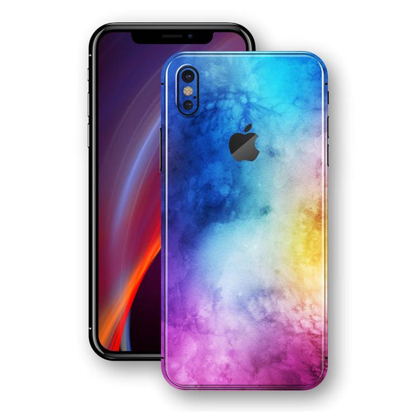 iPhone X SIGNATURE abstrakt Akvarel Blå / Lilla Folie/Skin