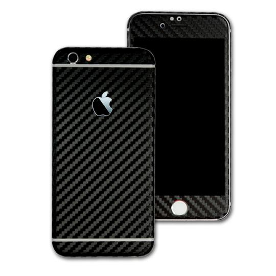 iPhone 6/6S 3D tekstureret kulfiber Carbon Folie/Skin Sort