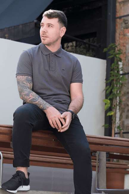 Grey Polo made from organic cotton