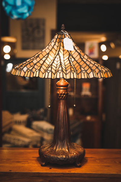 Lotus Leaf Leaded Glass Table Lamp with Cast Metal Base