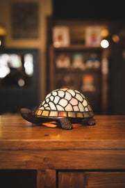 Die cast Turtle Lamp with Tiffany Style Shade