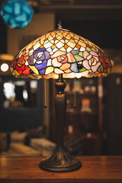 Large Leaded Glass Lamp with Cast Metal Base