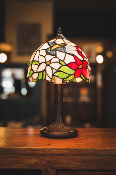 Cast Metal Table Lamp with Humming Bird