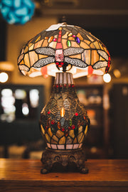 Large Dragonfly Table Lamp with Leaded Glass Shade and Base