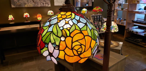 Leaded Glass Flower Floor Lamp