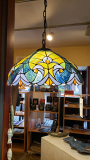 Hanging Orchid Stained Glass Lamp