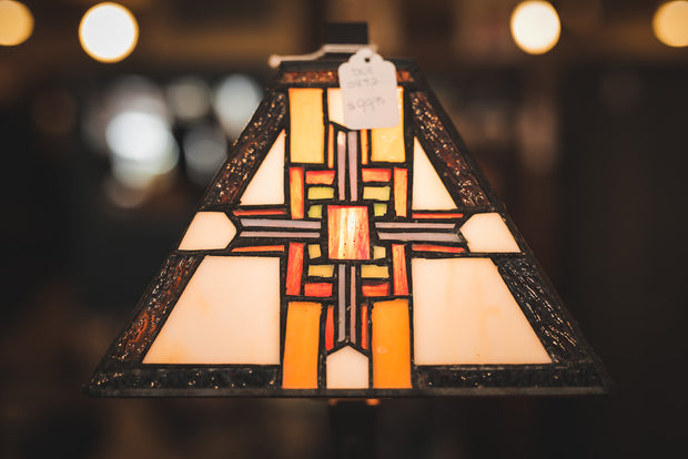 Mission Style Lamp Cast Metal with Leaded Glass