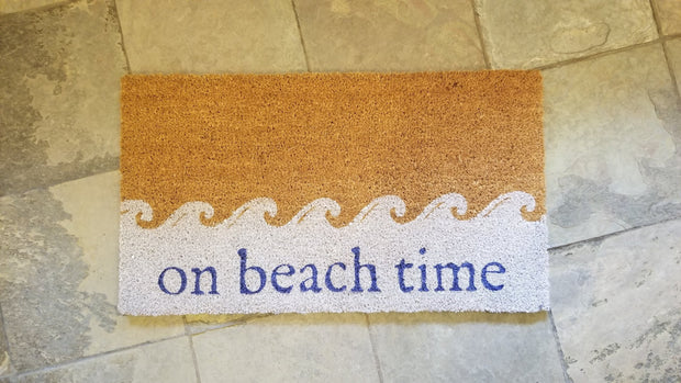"""On Beach Time"" Coir Door Mat"