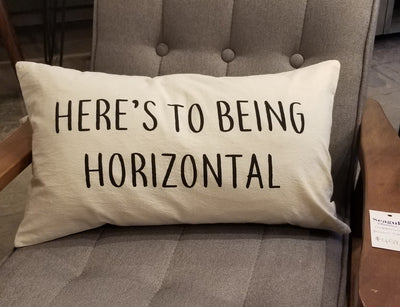 """Here's To Being Horizontal"" Throw Pillow"