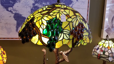 Leaded Glass Grapes Cast Metal Table Lamp