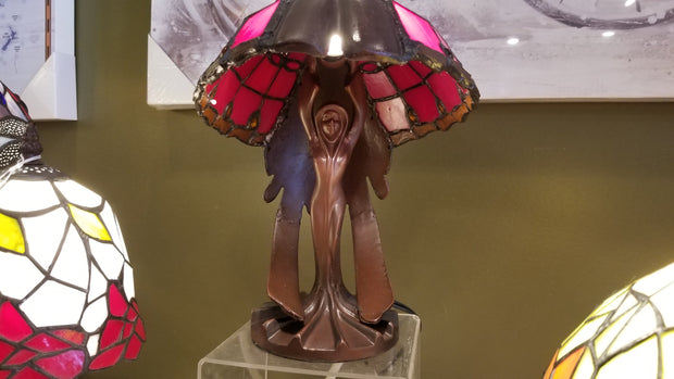 Leaded Glass Art Nouveau Cast Metal Table Lamp
