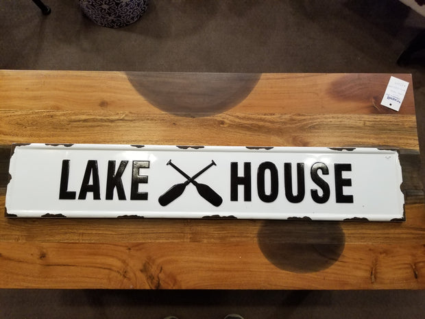 "Metal Pressed ""LAKE HOUSE"" Sign"