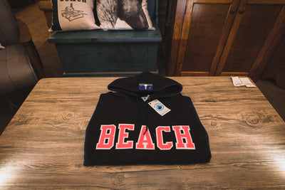 BEACH Classic Hoodie Sweat Shirt - Black with Pink