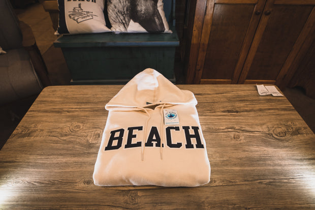 BEACH Classic Hoodie Sweat Shirt - Cream with Black