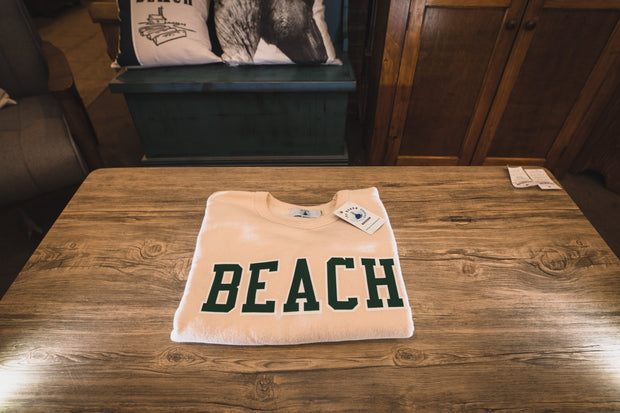 BEACH Classic Sweat Shirt - Cream with Green