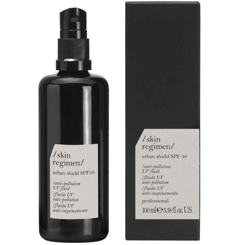 bottle of skin regimen's anti pollution sunscreen
