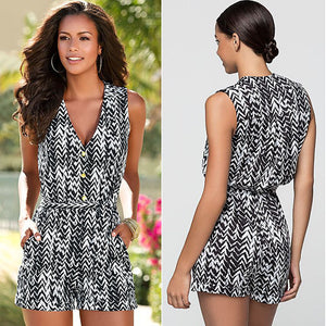 Sleeveless Black & White V Neck Romper