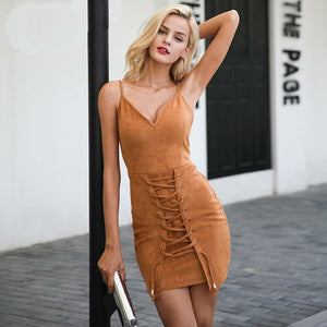 Lace Up Front Suede Dress