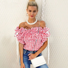 Off Shoulder Check Blouse