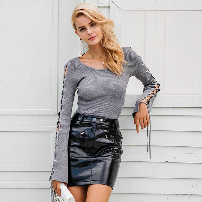 Lace Up Flare Sleeve Sweater