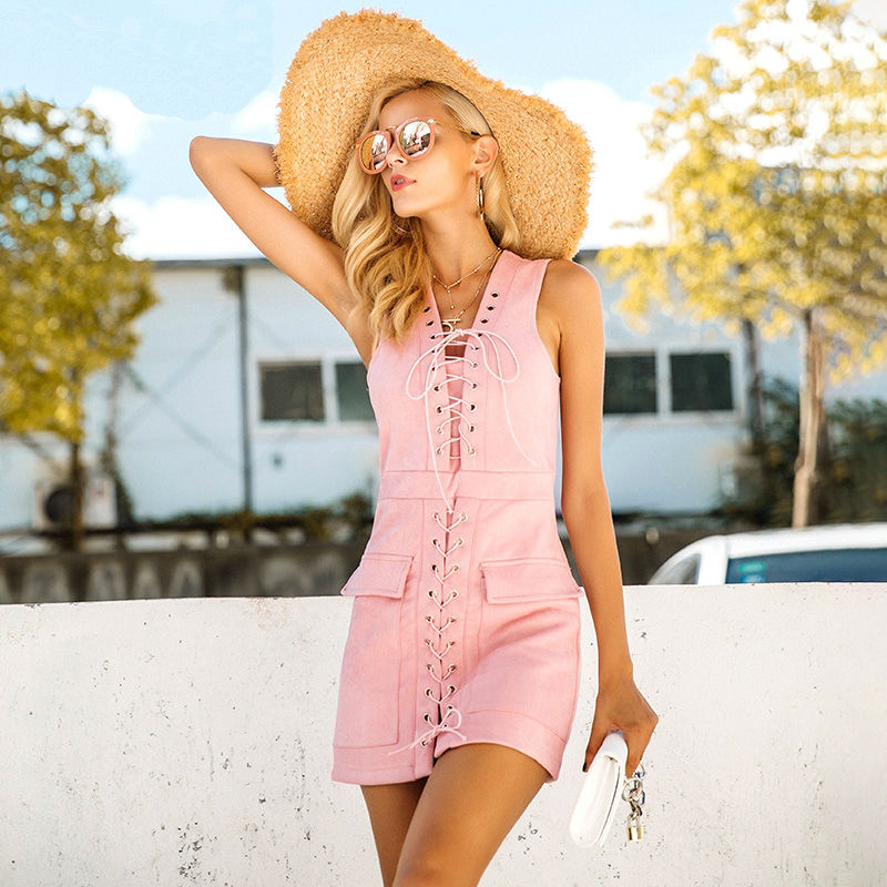 High Waist Lace Up Suede Mini Dress