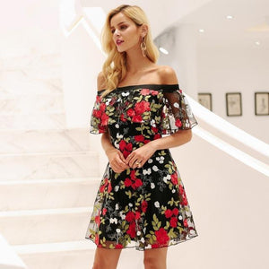 Off Shoulder Floral Embroidery Lace Dress