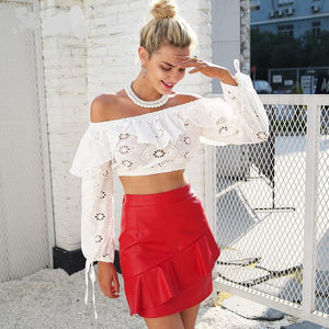 Off Shoulder Ruffled Hollow Out Crop Top