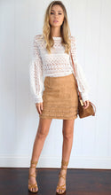 Faux Suede Pencil Cut Skirt