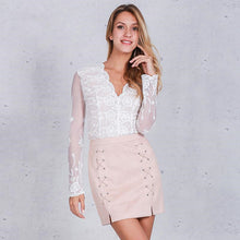 Suede Lace Mini Skirt (2 colors)