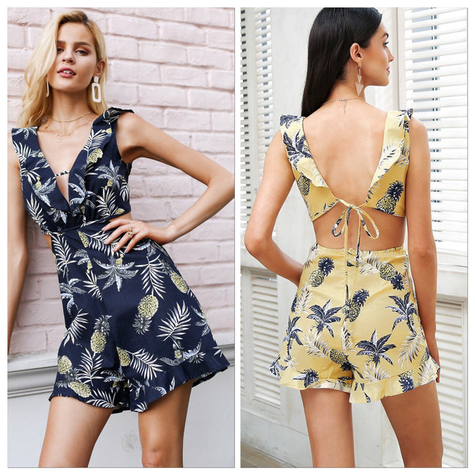 Backless Tie Up Sleeveless Romper (2 colors)