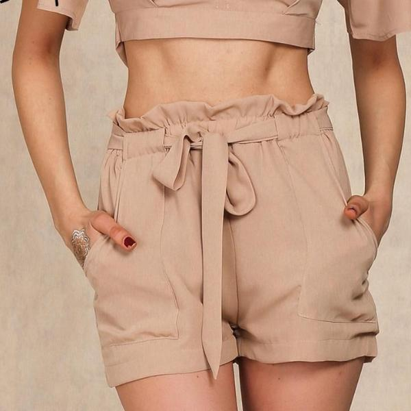 High Waist Tie Up Chiffon Shorts (2 colors)