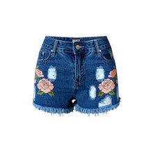 Floral Embroidery Distressed Denim Shorts (2 colors)
