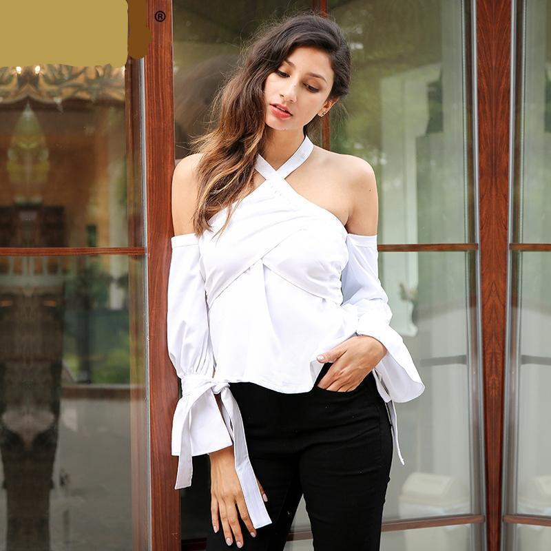Cross Halter Off Shoulder Blouse (2 colors)